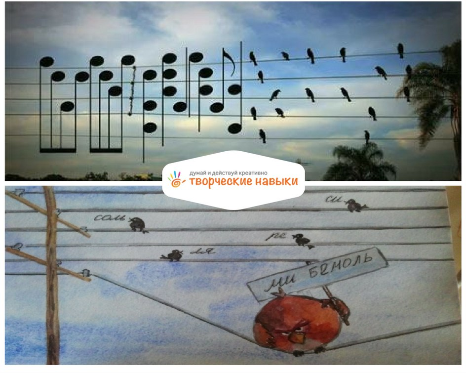 метафора ноты - это птицы на проводах