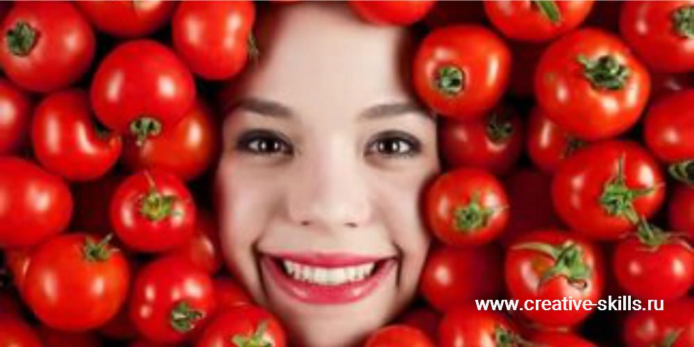 голова девушки в помидорах